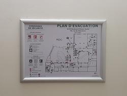 Plan d'évacuation  format A3 / cadre alu - PL16430